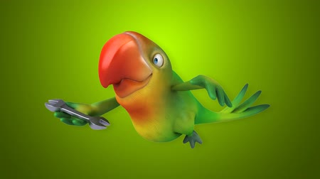 csavarkulcs : Cartoon parrot flying and holding a wrench