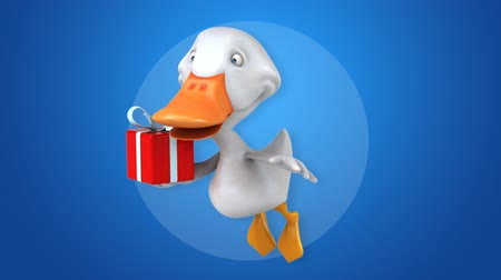 утки : Cartoon duck flying and holding a gift box