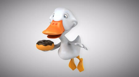 утки : Cartoon duck flying and holding a donut