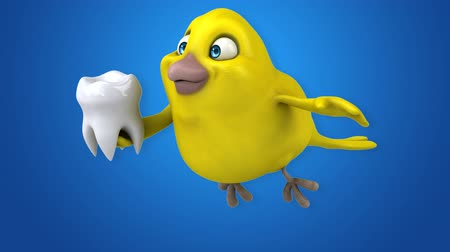 cálcio : Yellow bird flying and holding a tooth