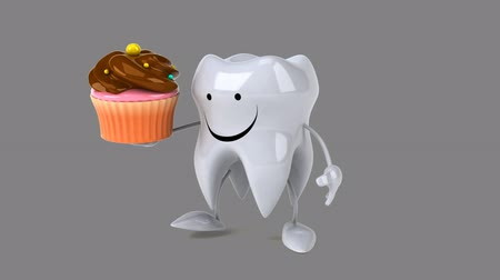 cálcio : Cartoon tooth character walking and holding a cupcake