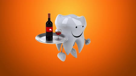 dış : Cartoon tooth character running and holding a tray with wine Stok Video