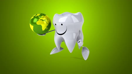 cálcio : Cartoon tooth character running and holding a globe