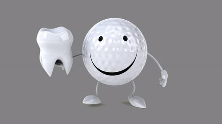 cálcio : Cartoon golf ball character walking and holding a tooth