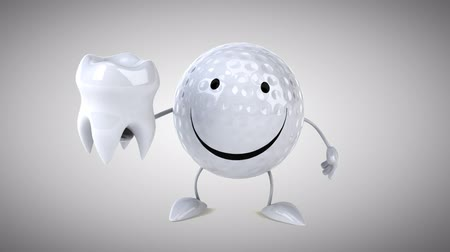 cálcio : Cartoon golf ball character pointing and holding a tooth
