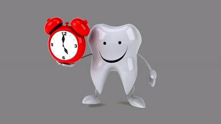 cálcio : Cartoon tooth character with an alarm clock Vídeos