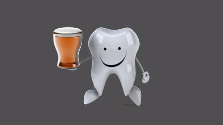 cálcio : Cartoon tooth character with a beer