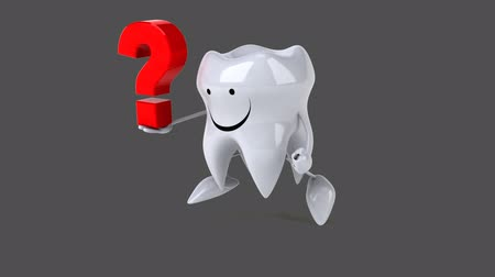 cálcio : Cartoon tooth character with question mark