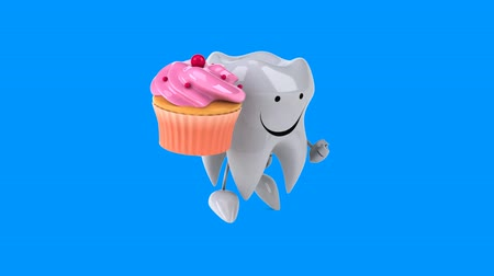 cálcio : Cartoon tooth character with cupcake