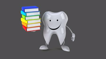 cálcio : Cartoon tooth character with books