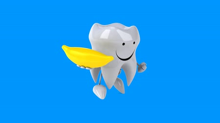 muz : Cartoon tooth character with banana