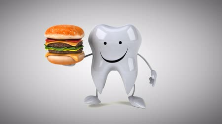cálcio : Cartoon tooth character with a burger