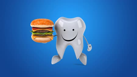 cálcio : Cartoon tooth character with burger