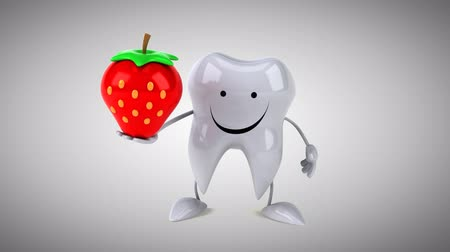 cálcio : Cartoon tooth character with a strawberry