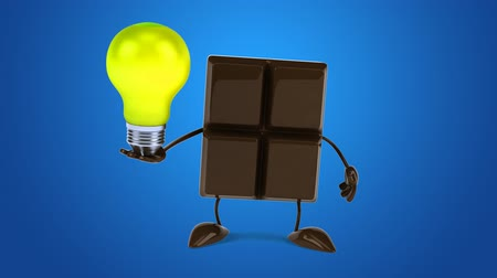 açık kahverengi : Cartoon chocolate bar character with a light bulb Stok Video