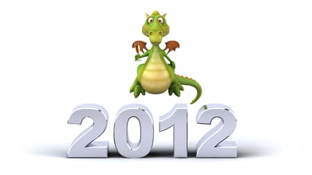 anual : Cartoon dragon character with year 2012