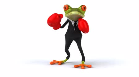 amfibi : Frog character in suit punching Stok Video