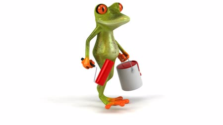 žába : Frog character walking with paint roller and bucket