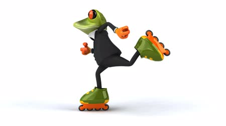 footgear : Frog character in suit playing roller skates Stock Footage