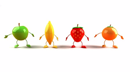 ура : Fruit characters jumping