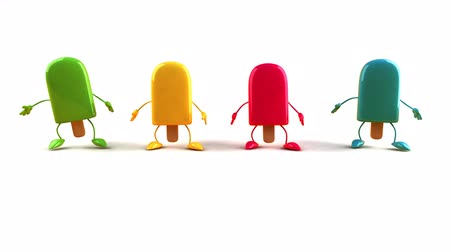 ура : Colorful ice cream bar characters jumping
