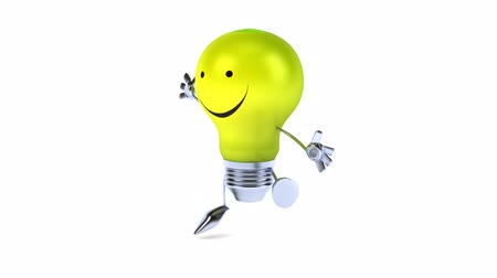 ура : 3D lightbulb character jumping