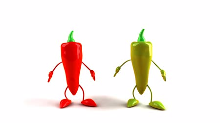ура : 3D chili pepper characters jumping Стоковые видеозаписи