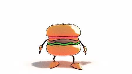 ура : Hamburger jumping Стоковые видеозаписи