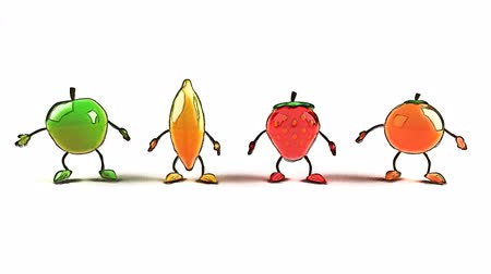 ура : Fruits characters jumping