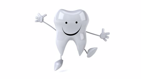 ура : Cartoon tooth character jumping