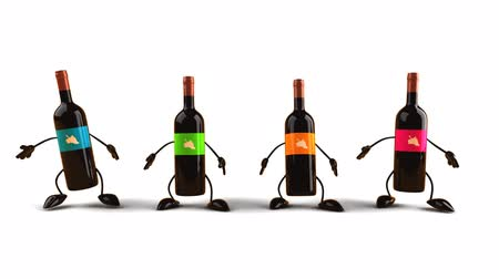 ура : 3D wine bottle characters jumping