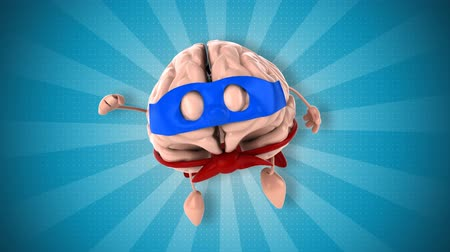 kahraman : 3D brain with superhero disguise flying Stok Video