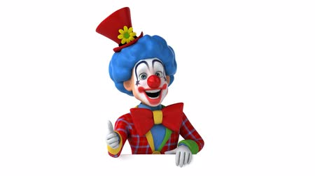 tréfacsináló : Cartoon clown character pointing downward and showing thumbs up gesture Stock mozgókép