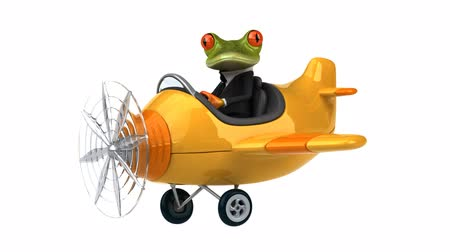 samolot : Cartoon frog character on a plane Wideo