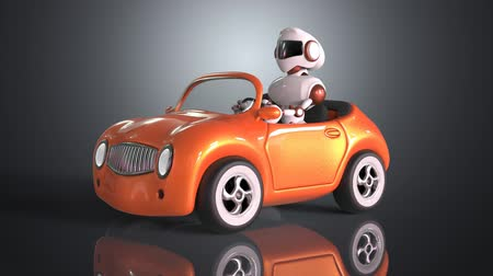 robótico : Cartoon robot character is driving a car Vídeos