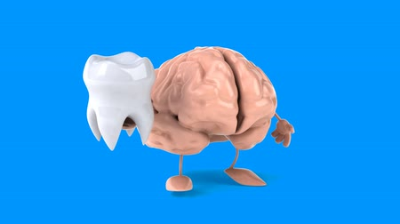 cálcio : Brain character walking with a tooth