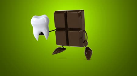 cálcio : Chocolate character running with a tooth