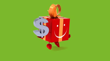 подарок : Cartoon gift box character with dollar sign