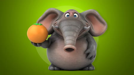 fil : Elephant character holding an orange while pointing up