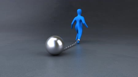 restraining : Person chained down by a ball and chain