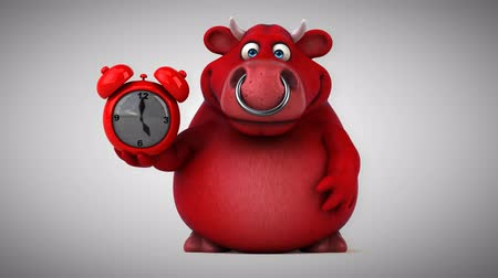 bull ring : Cartoon red bull with alarm clock Stock Footage