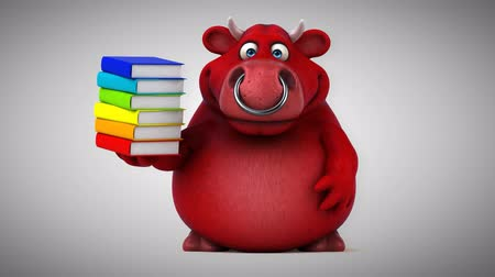 bull ring : Cartoon red bull with stack of books
