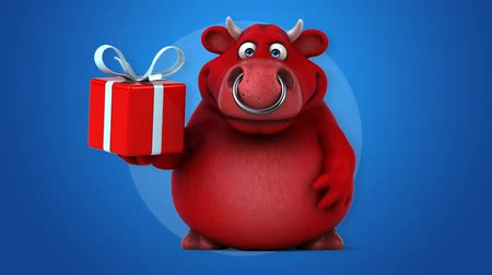 bull ring : Cartoon red bull with gift box Stock Footage