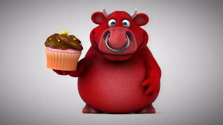 bull ring : Cartoon red bull with cupcake Stock Footage