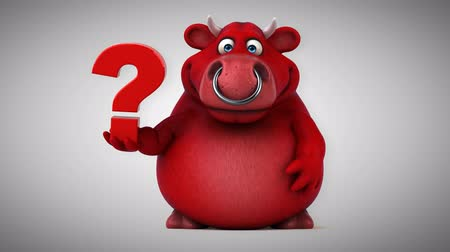 bull ring : Cartoon red bull with question mark