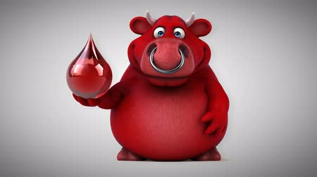 bull ring : Cartoon red bull with blood drop Stock Footage