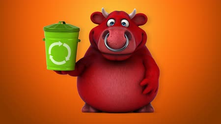 bull ring : Cartoon red bull with recycling bin Stock Footage