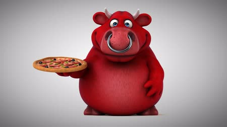 bull ring : Cartoon red bull with pizza Stock Footage