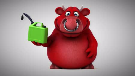 bull ring : Cartoon red bull with jerrycan