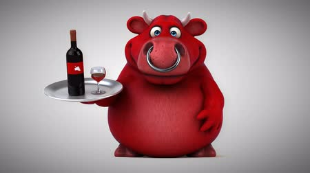 kırmızı şarap : Cartoon red bull with wine bottle and glasses